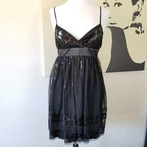 Black Sequin Spaghetti Strap Dress 13/14